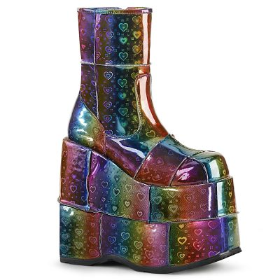 Stack 201 Rainbow Holographic 7 Inch Platform Ankle Boot W: Patching Details on Platform and Vamp