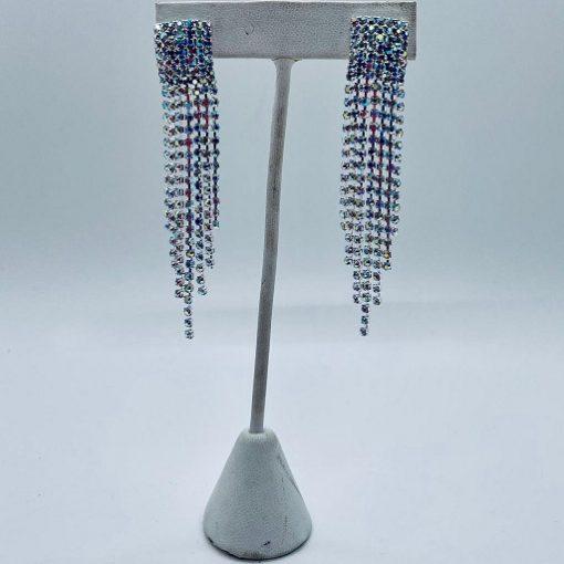 Earrings Rhinestone AB Silver