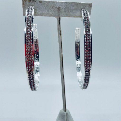 Earrings Hoops Rhinestone Silver